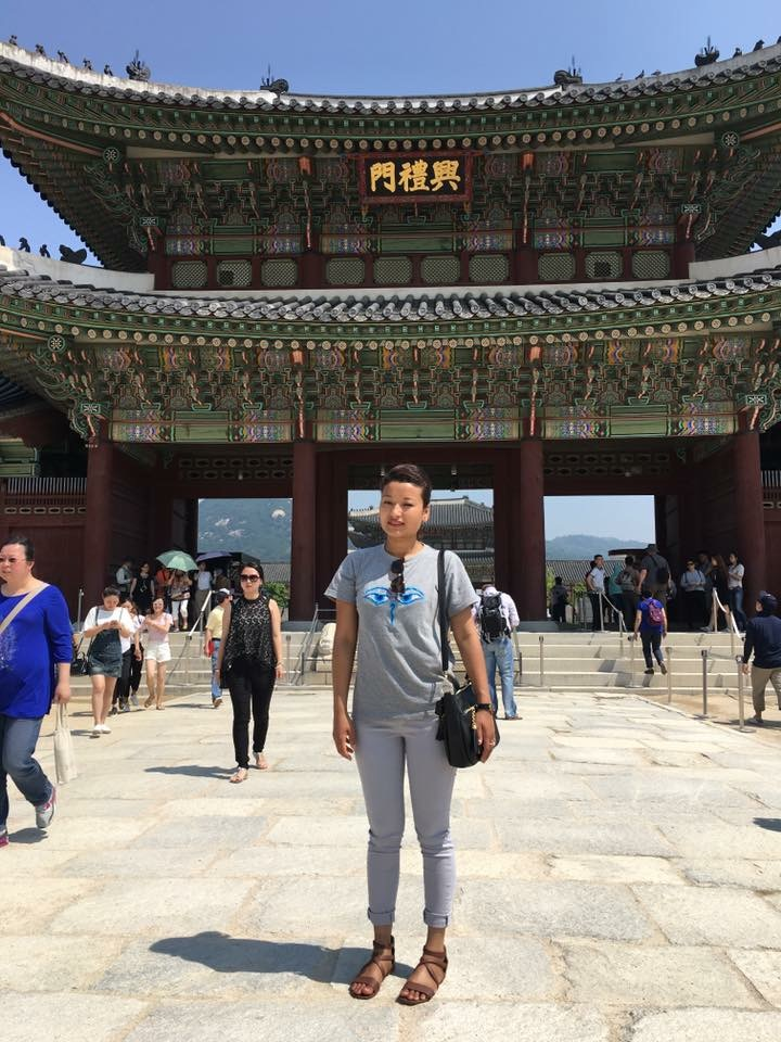 Infront of Gyeongbokgung Palace, in downrown Seoul