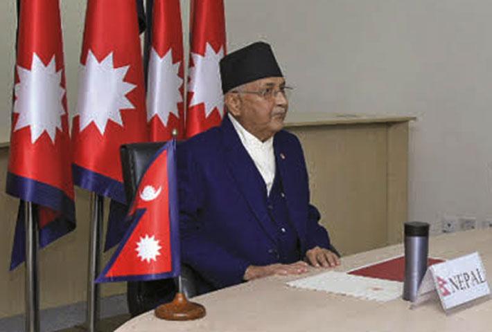 Prime Minister KP Oli addressing the CVF leaders' meet on Wednesday.