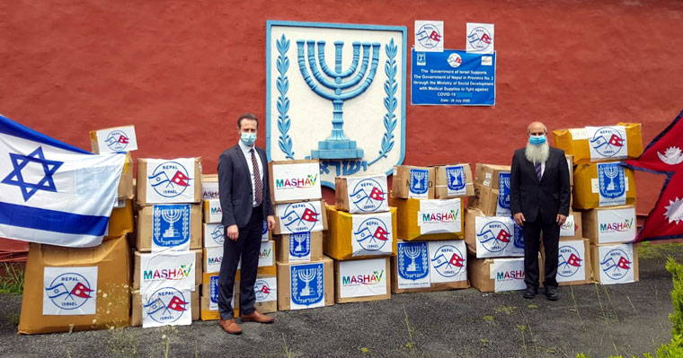 Israeli envoy and DCM before handing over of the medical aid items at the embassy premises.