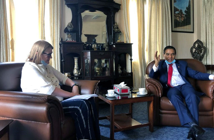 EU Ambassador Ms. Veronica Cody having farewell call on Foreign Secretary Shanker Das Bairagi at latter's office.