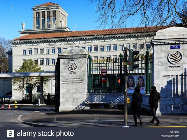 Main entrance to the Centre William Rappard, headquarters of the World Trade Organization, WTO, Geneva, Switzerland by Danuta Hyniewska.
