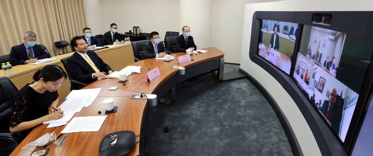 Chinese Vice Minister holding video conference with Nepali team/Chinese Envoy's Twitter account