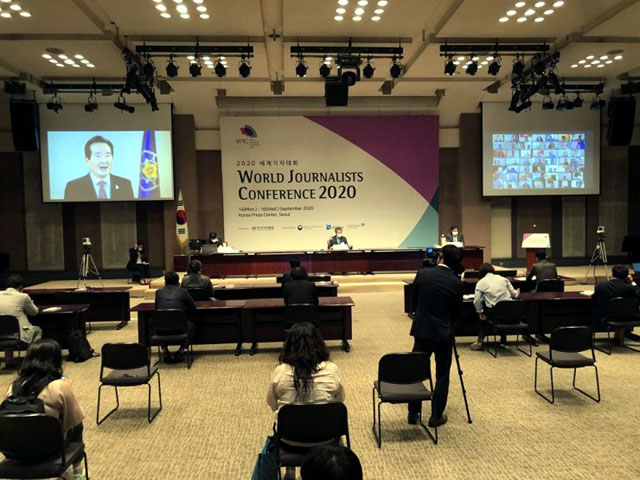 Prime Minister of South Korea Chung Sye-kyun delivers a congratulatory video message at the World Journalists Conference 2020 hosted by the Journalists Association of Korea that kicked off Monday at the Korea Press Center in downtown Seoul. Photo Credit: Shim Hyun-chul/Korea Times