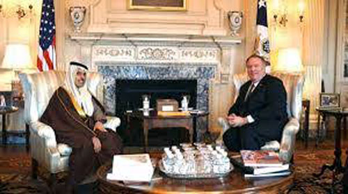 Saudi Arabia's Foreign Minister Prince Faisal bin Farhan meeting with US Secretary of State Mike Pompeo at latter's office in Washington DC in the USA. Photo; Ismaeel Naar