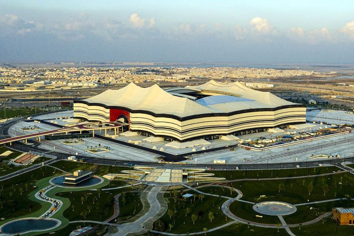 A general view of Al Bayt Stadium at Al Khor City, Qatar. (Marcio Machado/Eurasia Sport Images/Getty Images)
