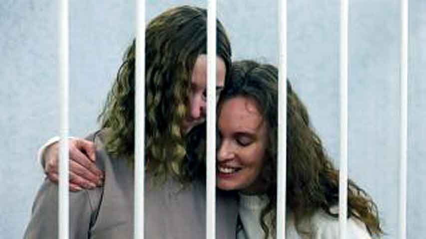 Journalists Ekaterina Bakhvalova, right, and Daria Chultsova, on trial in Belarus this year after covering a protest against Lukashenko. AP Photo