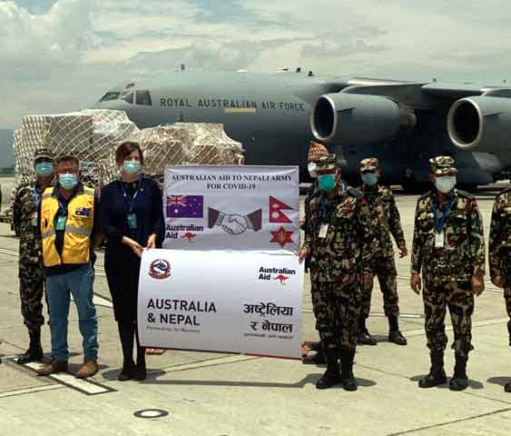 Australian Ambassador (third from left) handing over the medical items to the Chief of General Staff of the Nepal Army amidst a function organised today at the Tribhuvan International Airport. Embassy Photo