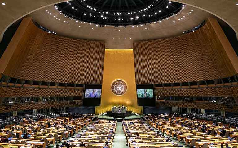 UN General Assembly Hall. AP photo