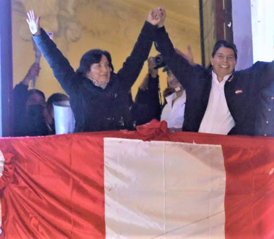 Pedro Castillo celebrated after being declared president-elect on Monday. Photo: Guadalupe Pardo/AP