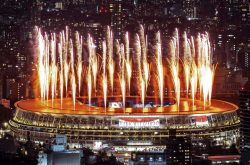 Fireworks light up the sky over the Olympic Stadium during the Opening Ceremony. Charly Triballeau/AFP/Getty Images
