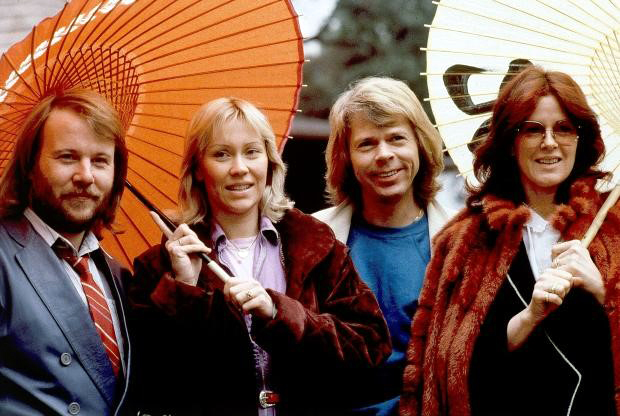 Members of the pop group ABBA, from left, Benny Andersson, Agnetha Foltskog, Bjorn Ulvaeus and Anni-Frid Lyngstad, appear in Tokyo on March 14, 1980. (AP Photo/Tsugufumi Matsumoto, File)