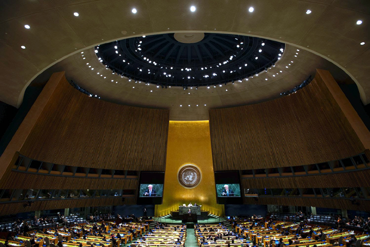 The General Assembly Hall in the UN Headquarter where the world leaders gather.